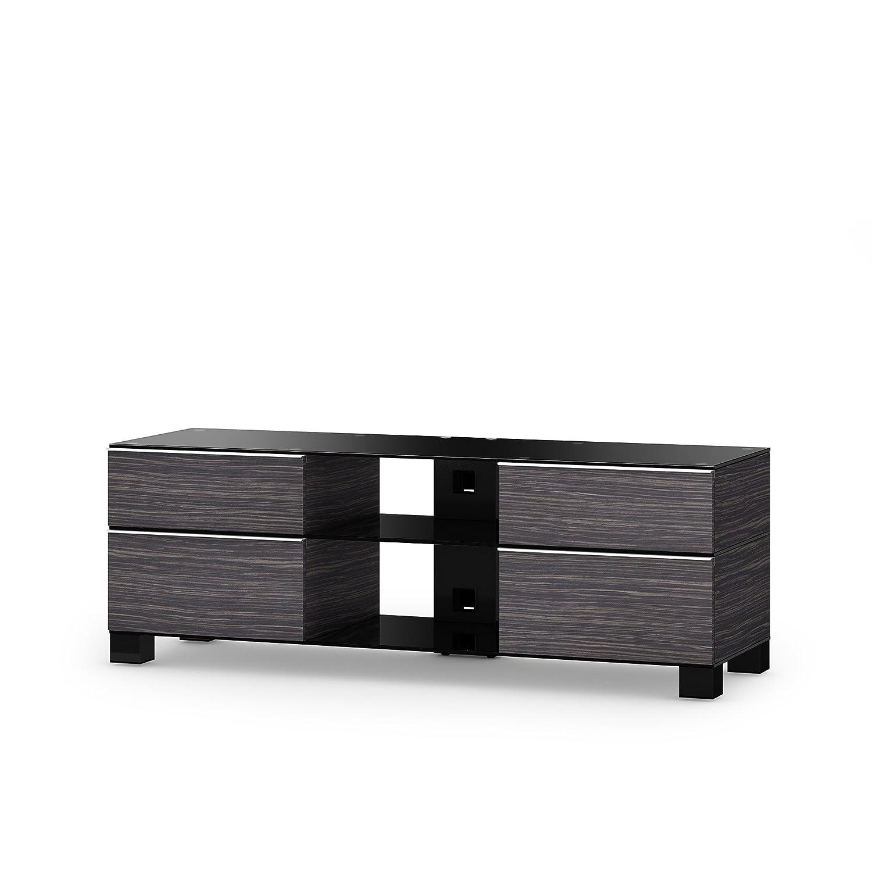 Sonorous MD 9240-B-HBLK-AMZ Fernseher-Möbel mit Schwarzglas (Aluminium Hochglanz, Korpus Holzdekor) schwarz