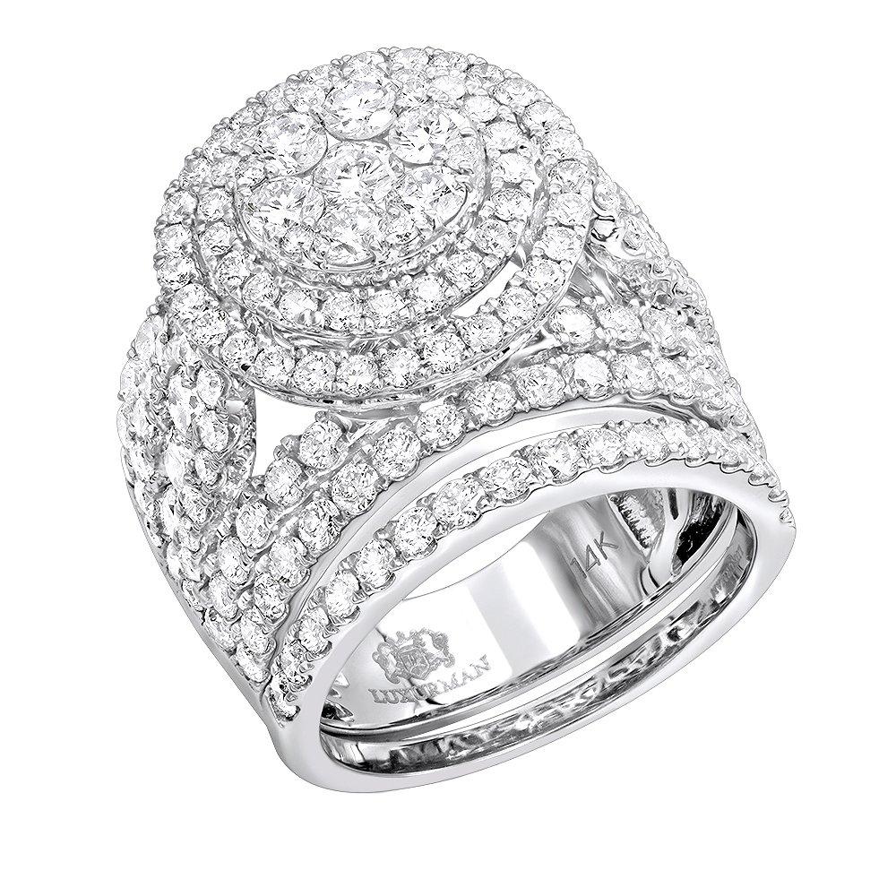 14k Gold Unique Diamond Double Halo Engagement Ring and Wedding Band Set 4.25ctw (White Gold, Size 7.5)