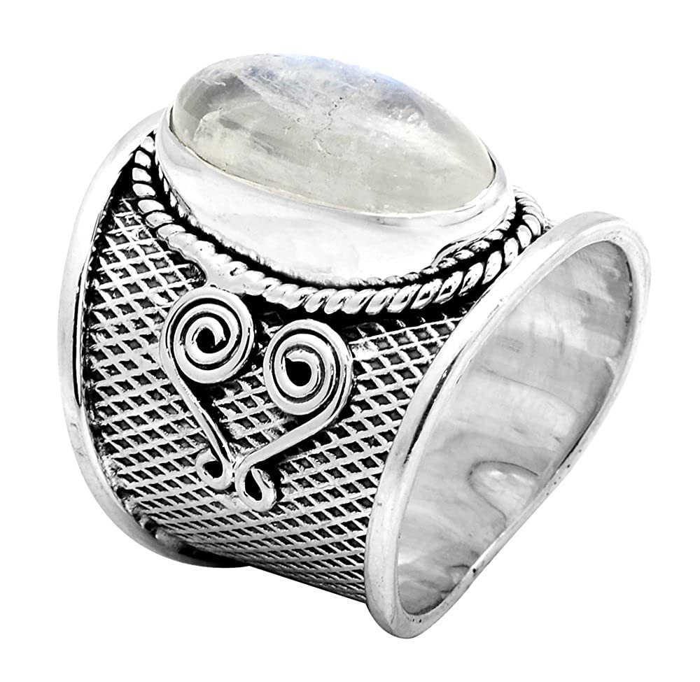 Rainbow Moon Stone 925 Sterling Silver Rings Silver Jewelry