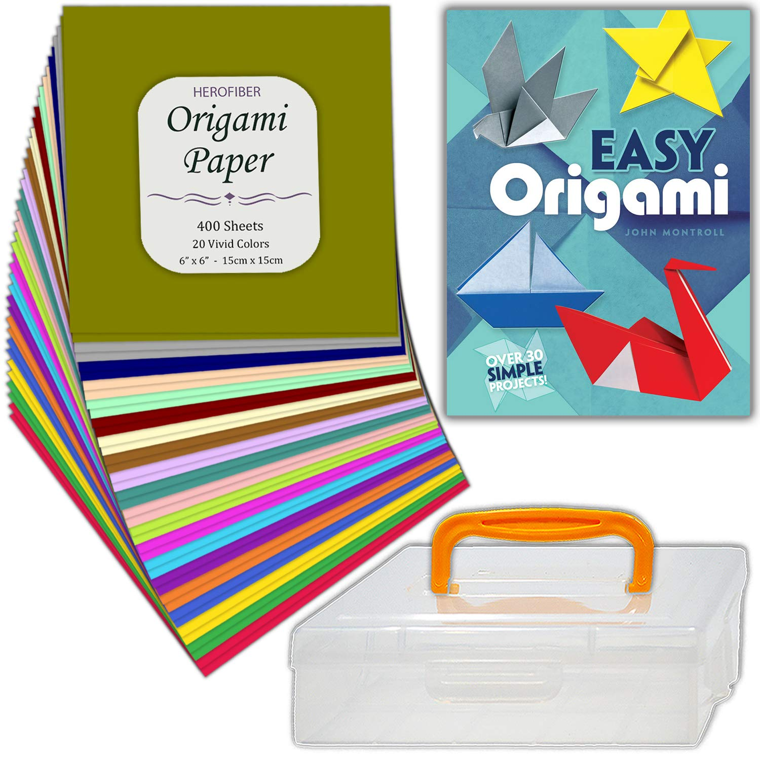 Origami Kit • 400 folding papers (20 colors) + ''Easy Origami'' book of 32 illustrated projects + craft storage container • Complete essential arts, fun, play, hobby gift set for adults, kids, beginners by HeroFiber