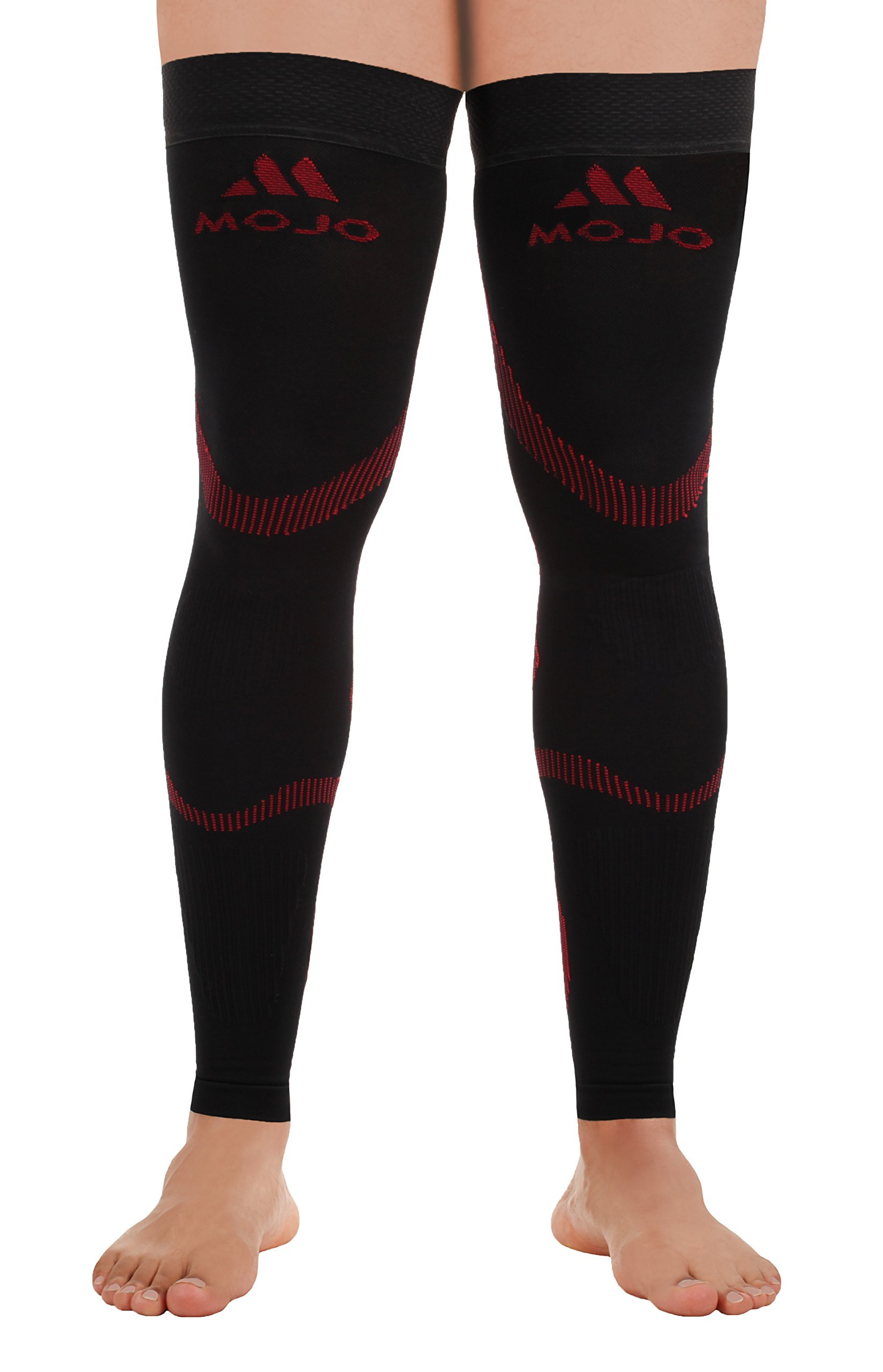 Mojo Full Leg Support & Recovery Compression Stockings Thigh Hi Leg Sleeve - (Small, Black Red) Thigh High Compression Stockings 20-30mmHg