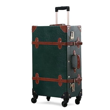 UNITRAVEL Maleta Vintage Viaje 58 Centímetros 36 litros con 4 Ruedas Verde Oscuro con Cierre Numeric