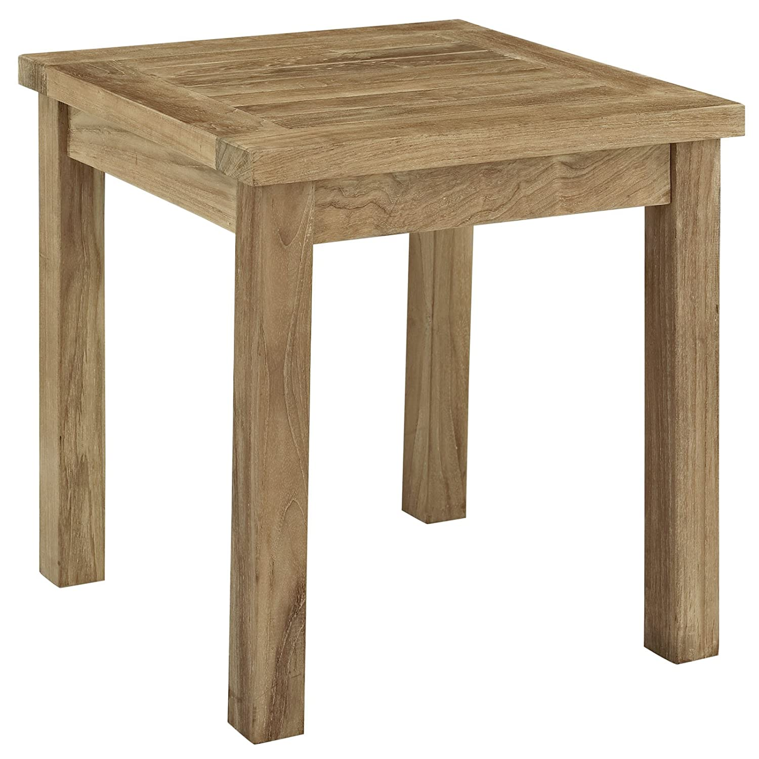 Superb Amazon.com: Modway Marina Teak Wood Outdoor Patio Side Table In Natural:  Kitchen U0026 Dining