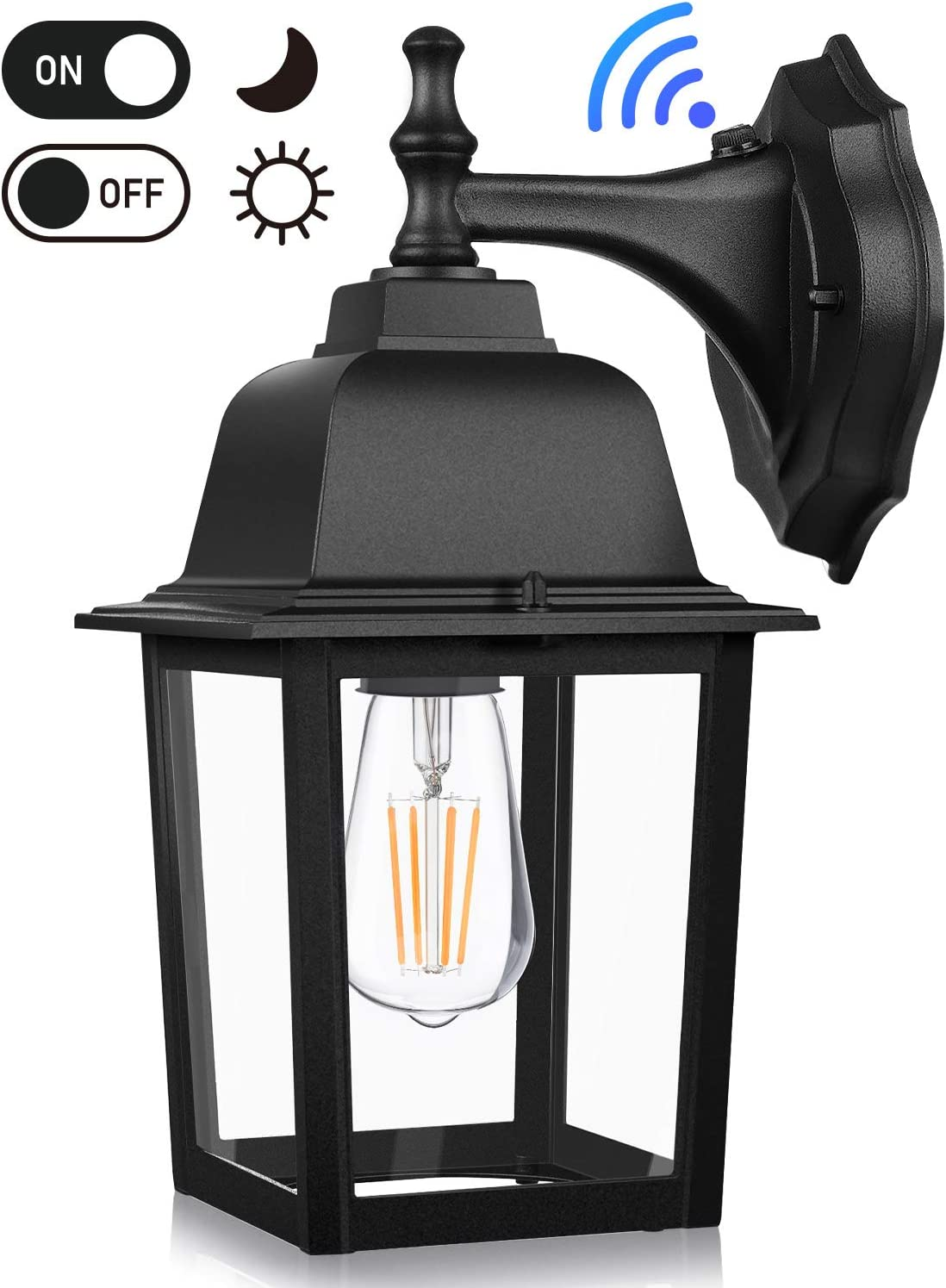 Dusk to Dawn Sensor Outdoor Wall Lanterns, Exterior Wall Sconce Fixture with E26 Base LED Bulb, Wall Mount Lights Anti-Rust Waterproof Matte Black Wall Lamp with Clear Glass Shade for Garage Doorway