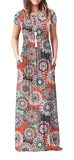 Viishow Women's Short Sleeve Floral Print Scoop Neck Loose Plain Maxi Dresses Casual Long Dresses with Pockets(Round Floral Orange XS)