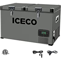 ICECO VL63 Quart Dual Zone Portable Refrigerator with SECOP Compressor, 60 Liters Platinum Compact Refrigerator, DC 12/24V, AC 110-240V, 0℉ to 50℉, Home & Car Use (without Insulate Cover)