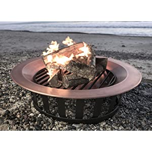 """Titan Attachments 40"""" Solid 100% Copper Fire Pit Bowl Wood Burning Patio Frontgate Deck Grill"""