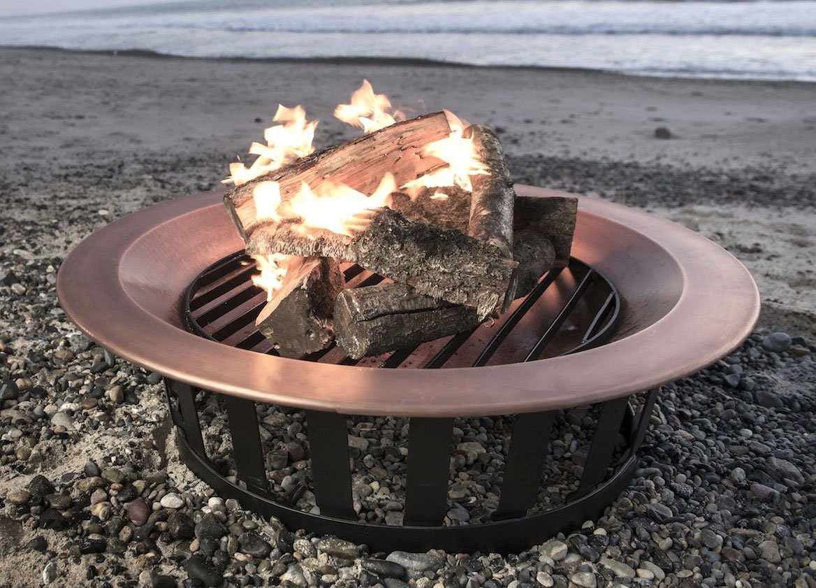 Titan 40'' Solid 100% Copper Fire Pit Bowl Wood Burning Patio Deck Grill