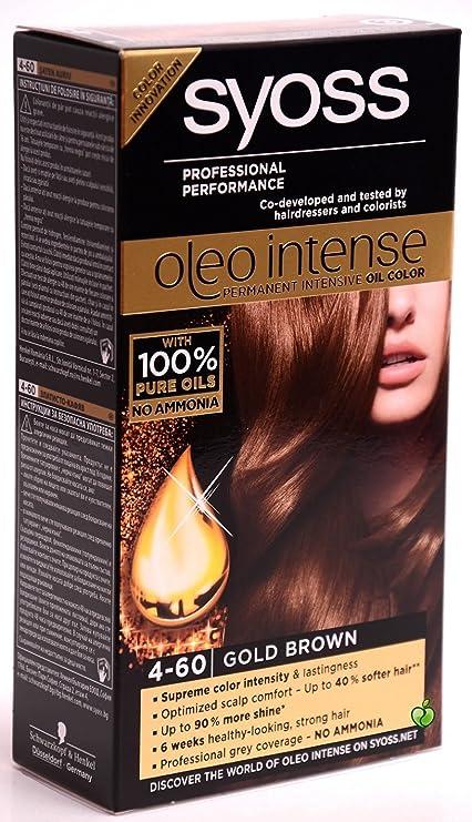 Syoss Oleo Intense Tinte para el cabello 100% aceites puros, 0% amoníaco 4-60, color dorado y marrón