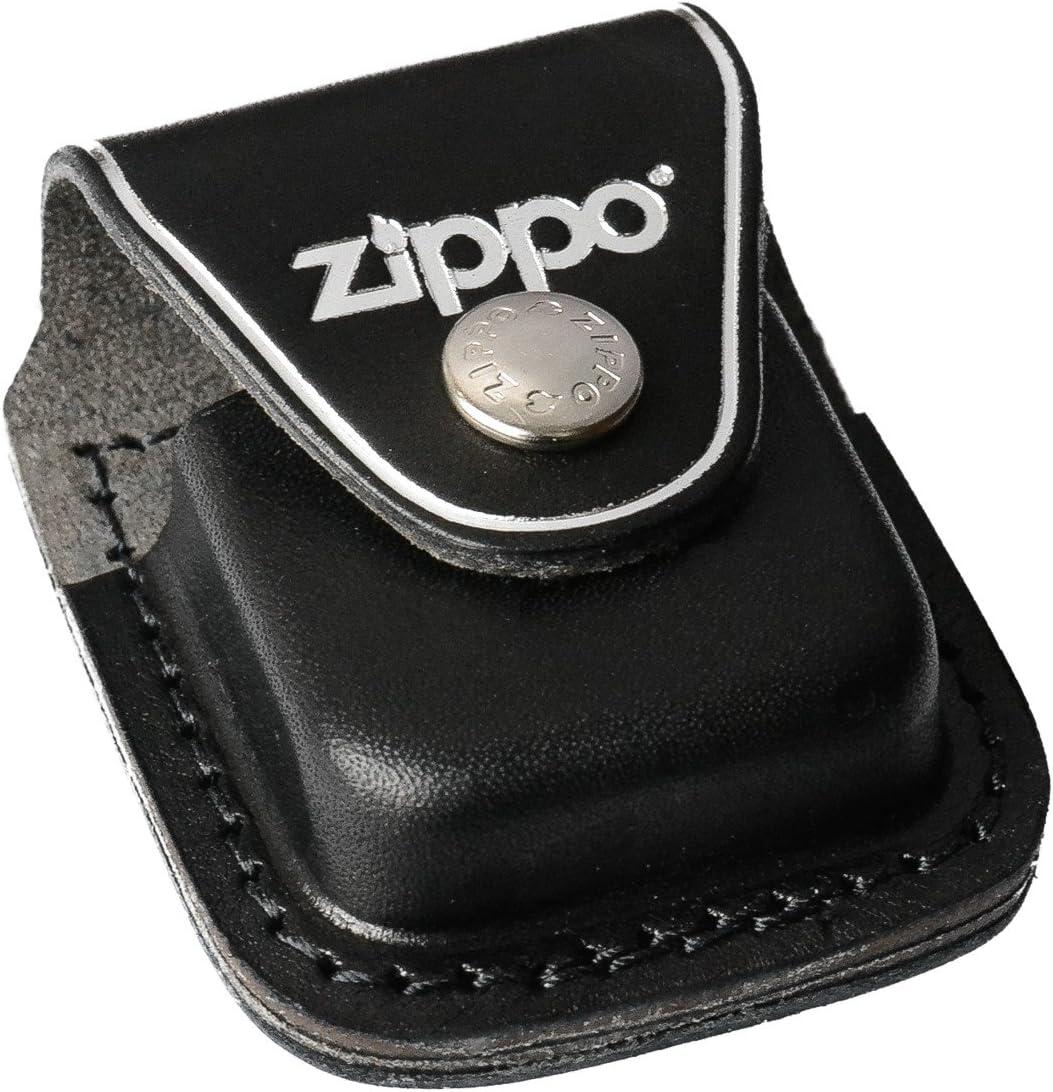Zippo Funda de Piel Negra con Clip para mechero de Coche, Cromo, 5,8 x 3,8 x 1,8 cm