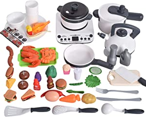 iBacakys 50PCS Kids Play Food Toys , Kitchen Play Accessories with Spray Pressure Pot and Pots, Cutting Food Toy Utensils, Electronic Induction Cooktop, Food Toys Gift for Girls, Boys