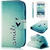 BestCool PU Leder Klapptasche für Samsung Galaxy S3 Mini i8190 (Standfunktion, Kreditkartenfach, Magnetverschluß, Stylus Pen, Displayschutzfolie) grün