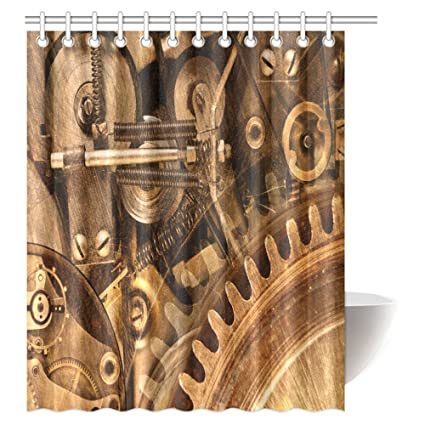 INTERESTPRINT Industrial Decor Shower Curtain Inside Gears Mechanical Copper Device Steampunk Style Print