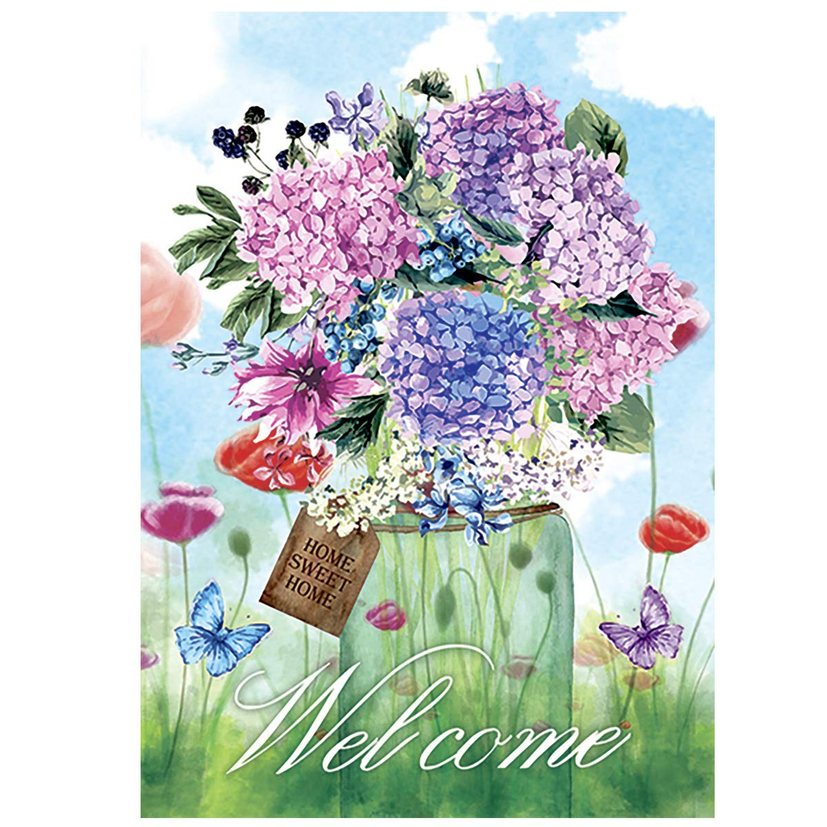Morigins Welcome Spring Mason Jar Double Sided Garden Flag Floral Butterfly 12.5 x 18 Inch