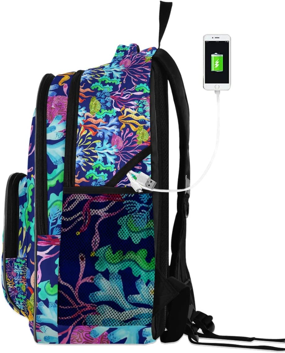 Laptop Backpacks for Women Men Watercolor Coral Large Knapsack Fit 17 Inch Computer Bookbag for School Business Travel Gym