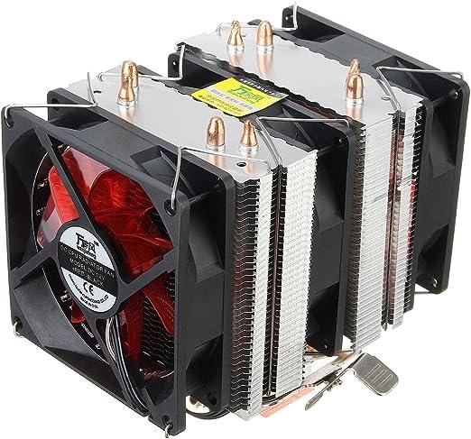 Tutoy 4 Tubos De Calor Led Rojo 3 CPU Enfriador Disipador De Calor ...