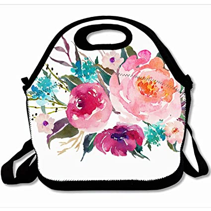123f359f40e7 Amazon.com: Ahawoso Reusable Insulated Lunch Tote Bag Flowers Floral ...