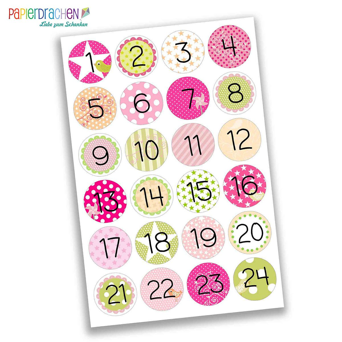 Papierdrachen 24 Advent Calendar Number Stickers - DIY Labels - for Making and Filling - No 16