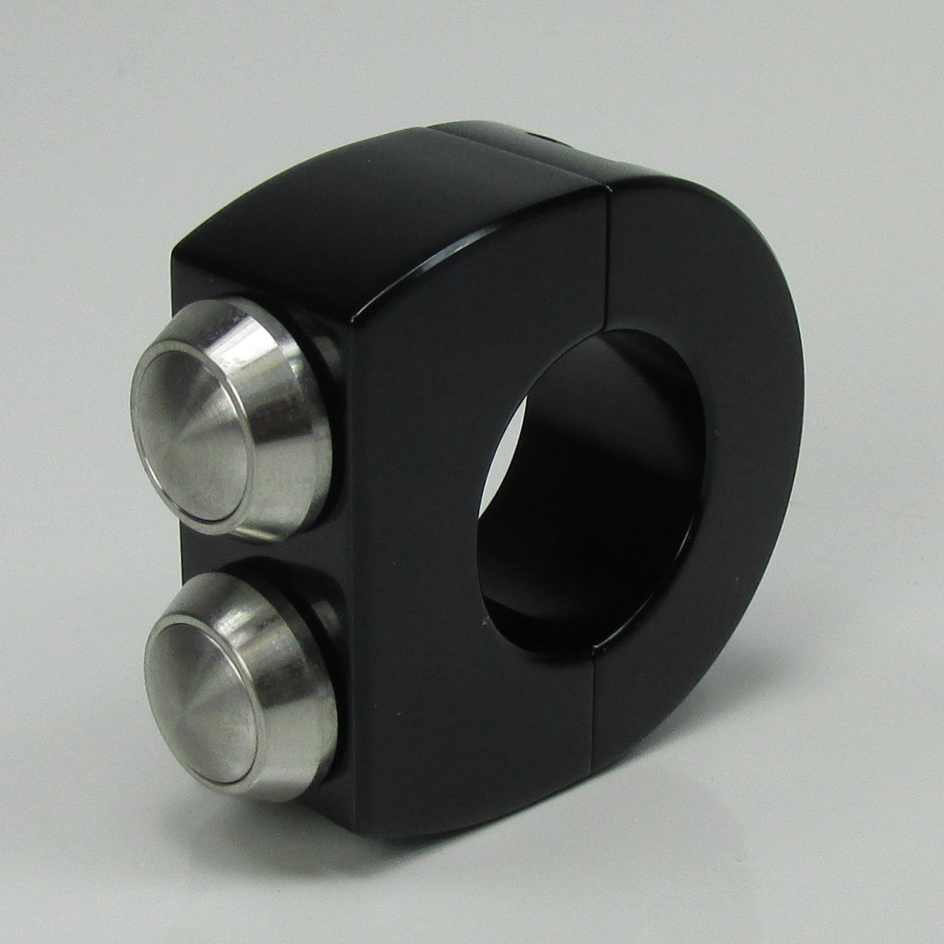 Custom 2-Button Satin BLACK Billet Aluminum Handlebar Switches Clamp for 1' Bars - Internally Wire Horn and Starter Switches - Can also be used with High/Low Beams - Custom Chopper Bobber HD Billet Proof Designs CLTCH_MS