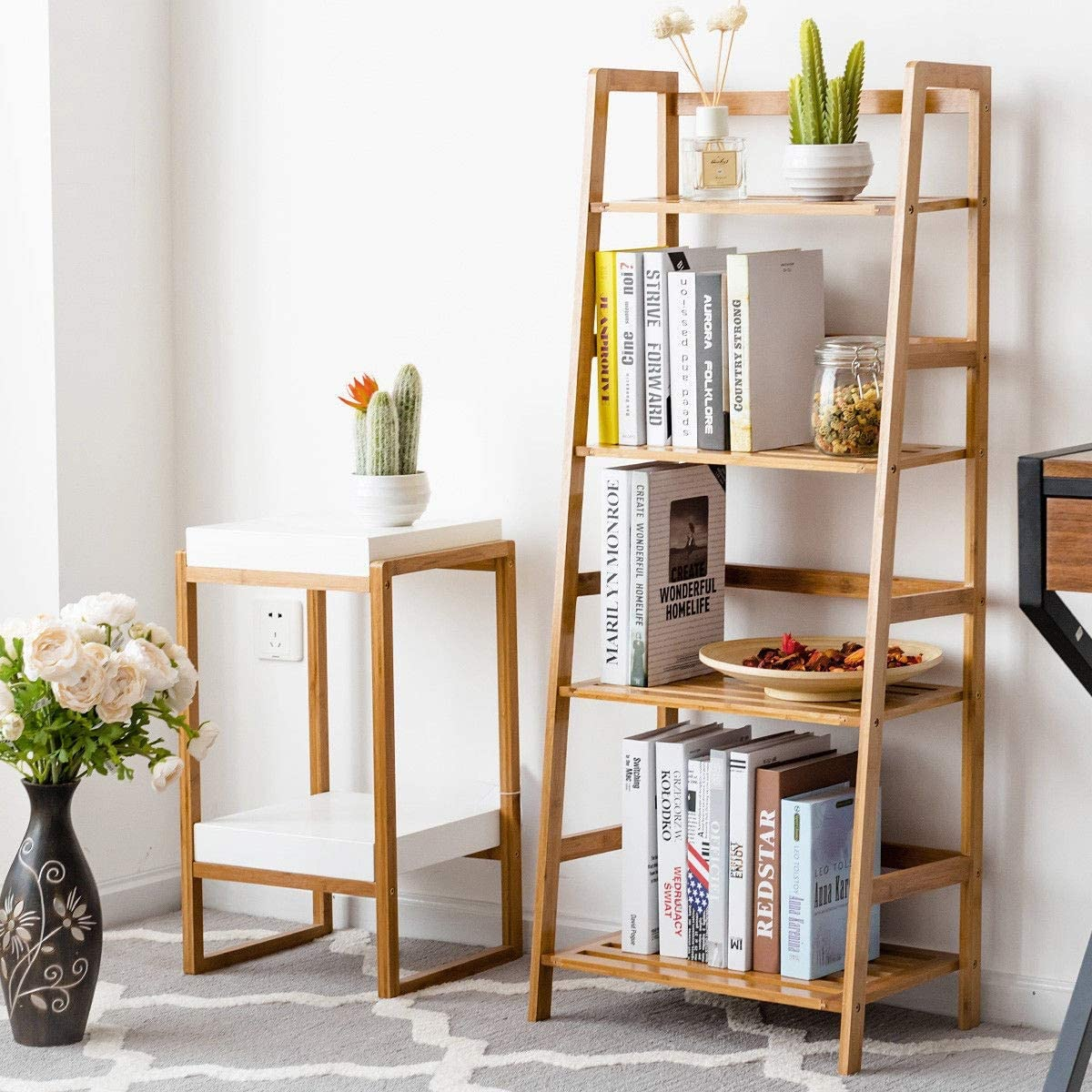 Amazon Com Living Room Design Ideas Functional Design Furniture Accessories Decor Set Decorations Reading Essentials Home Bedroom Decor Multifunctional 4 Shelf Bamboo Plant Flower Storage Stand Kitchen Dining