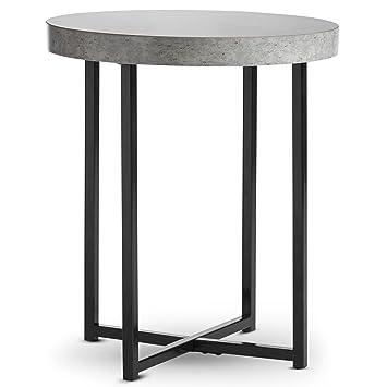 Vonhaus Concrete Look Round Side End Table Modern Lightweight Metal Effect Furniture For Bedsidehallwayliving Room