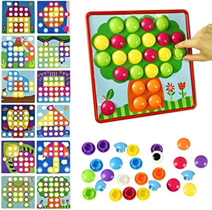 Color Matching Toddler Arts and Crafts Ideal Birthday for Age of 3 4 5 6 Include 24 Pictures and 50 Buttons with a Storage Bag Fansteck Button Art Educational Toys for Toddlers