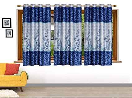 Buy Ville Style Polyester Floral Printed Light Blue Window