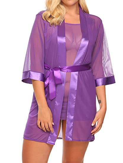 b61948c3a46da Plus Size Women s Sheer Mesh Kimono Robe with Full Slip Chemise 3 ...