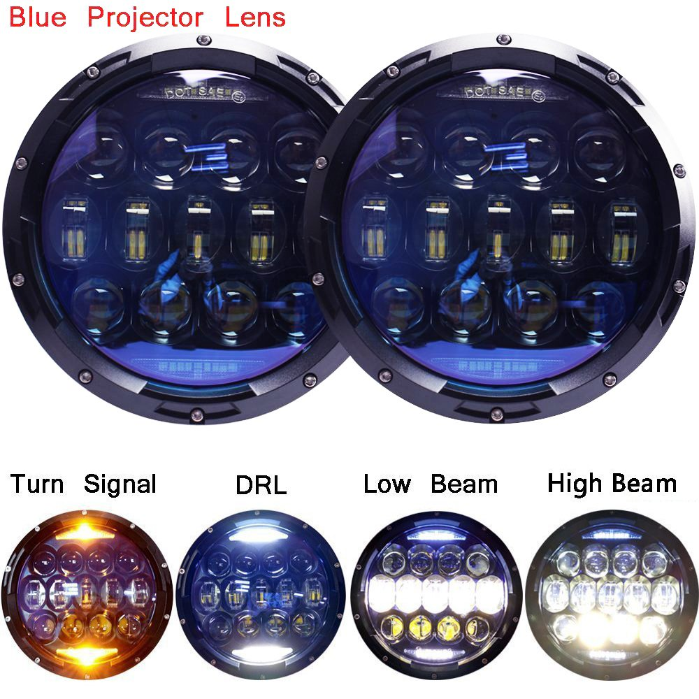 135W Exclusive Blue Projector Lens Brightest 7 inch LED Headlights Amber Turn Signal/DRL Bulbs Kit for Jeep Wrangler JK LJ JKU TJ CJ Sahara Rubicon Freedom Dragon Edition Unlimited Headlamps