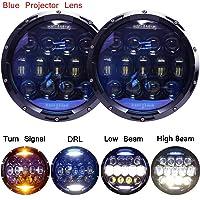 135W Exclusive Blue Projector Lens Brightest 7 inch LED Headlights Amber Turn Signal/DRL Bulbs Kit for Jeep Wrangler JK LJ JKU TJ CJ Sahara Rubicon Freedom Dragon Edition Unlimited Headlamps