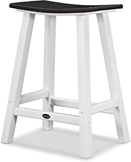 product image for POLYWOOD 2011-FWHBL Contempo Counter Height Saddle Seat Barstool, White Frame, Black