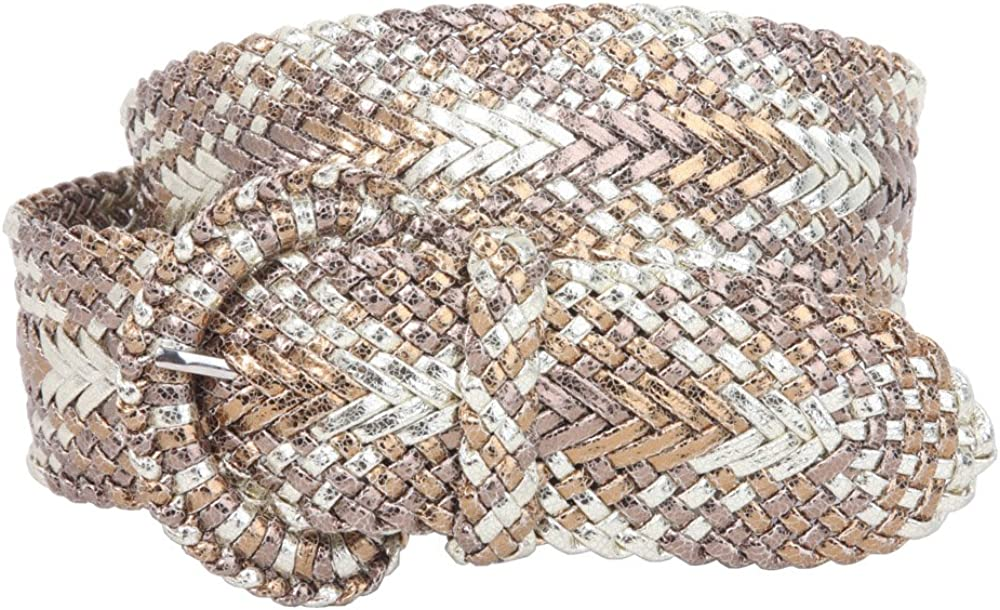 2 Inch Wide Hand Made Soft Metallic Woven Braided Round Belt