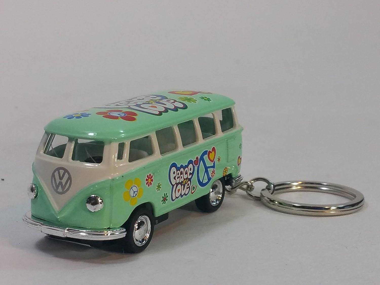 Kinsmart Green Classic 1962 Love & Peace VW Volkswagen (Hippie) Bus Keychain 1/64 Pastel Color Diecast Car