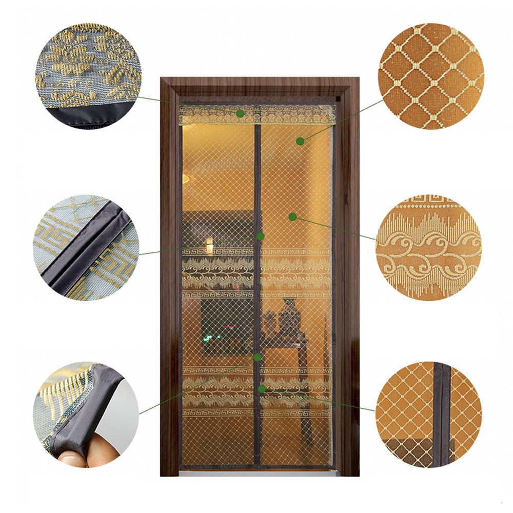 39 x 83 Magnetic Screen Door Mosquitos Repellent,Double Mesh Door Curtain Full Frame Velcro,with Luxury Print and Lace Head Decoration
