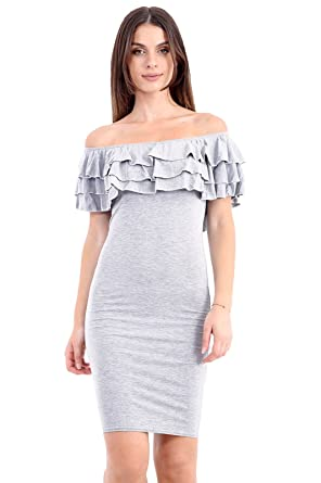4d9a7990f79e Womens Off Shoulder Frill Bardot Midi Dress Ladies Peplum Ruffle Bandage  Bodycon Party Dress (12