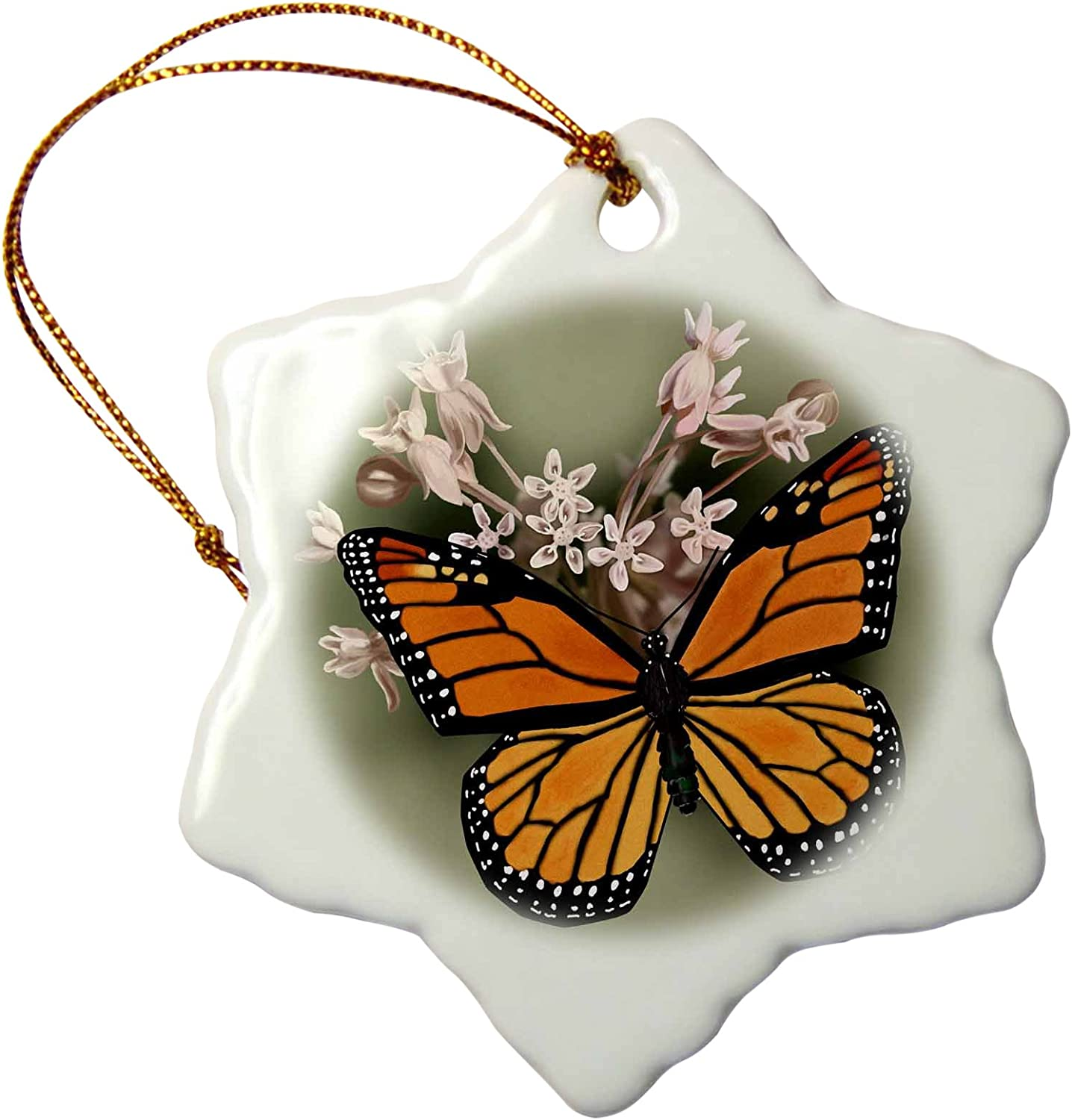 3dRose Monarch Butterfly and Pink Milkweed Snowflake Ornament