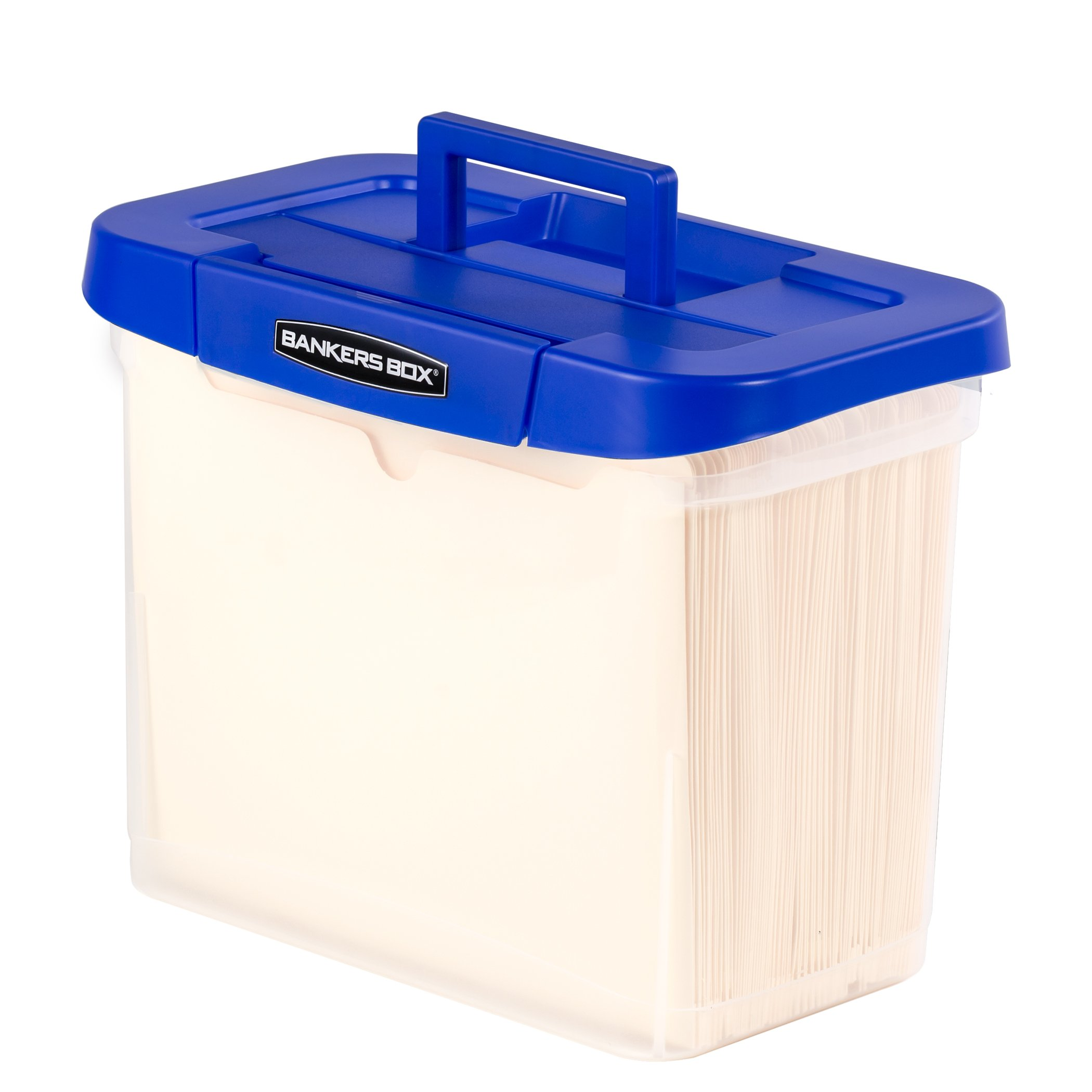 Bankers Box Heavy Duty Portable Plastic File Box with Hanging Rails, Letter, 1 Pack (0086304) by Bankers Box