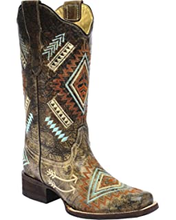 dded45bb114f CORRAL Women s Multicolored Diamond Embroidered Cowgirl Boot Square Toe -  E1084
