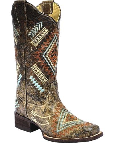 361396fd4c8 CORRAL Women's Multicolored Diamond Embroidered Cowgirl Boot Square Toe -  E1084