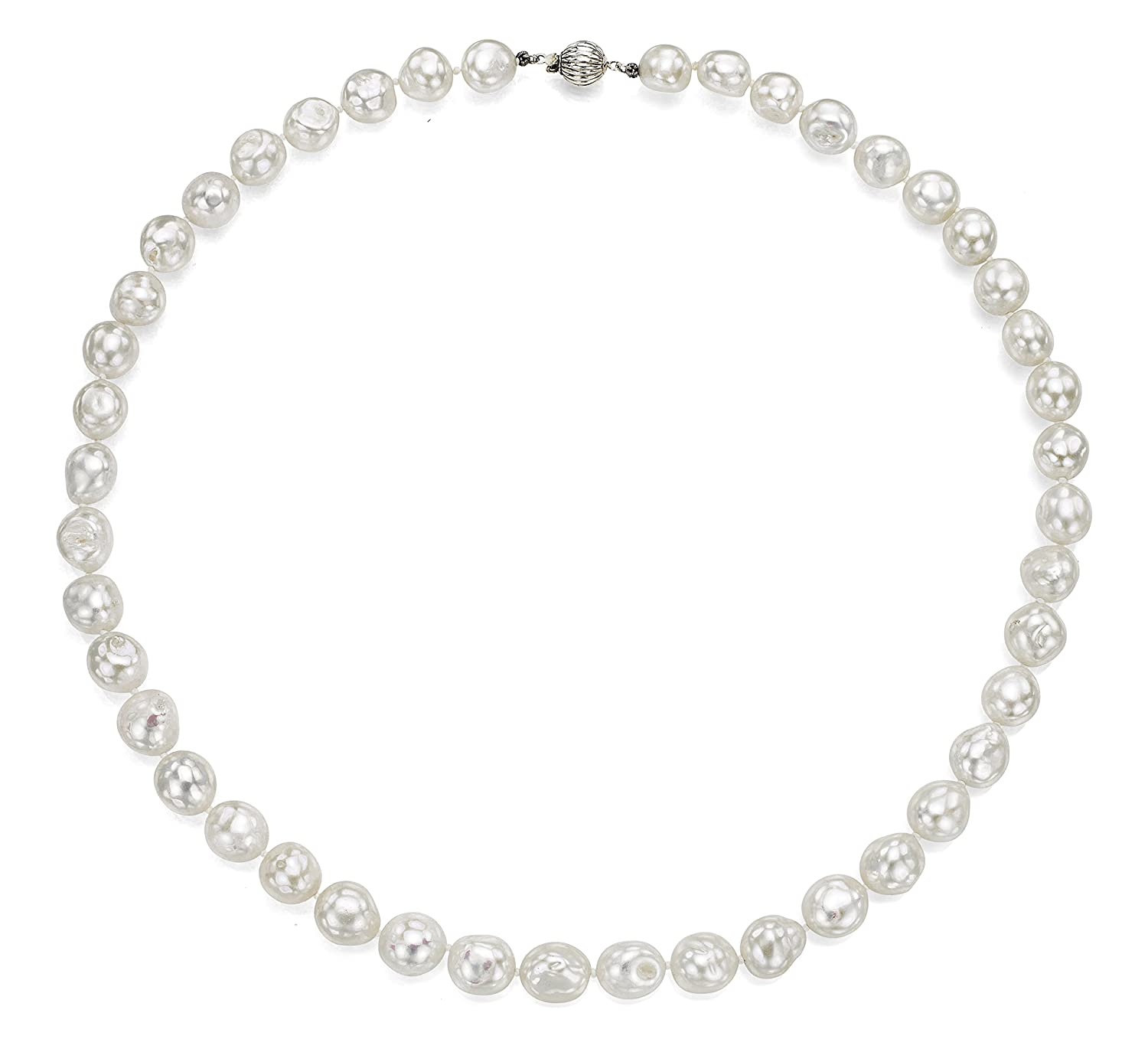 Sterling Silver 11-11.5mm White Baroque Freshwater Cultured Pearl Ball Clasp Necklace, 24 24 La Regis Jewelry