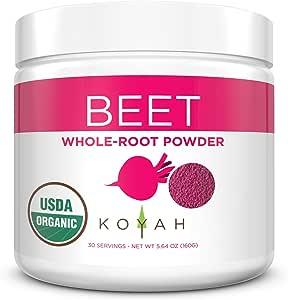 KOYAH - Organic USA Grown Beet Powder (1 Scoop = 1/2 Beet): 30 Servings, Whole-Root, 100% Freeze-dried
