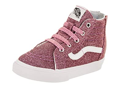 b6ecbdbe76 Vans Girl s SK8 Hi Zip Pink Glitter Toddler Trainer Boots 4.5 M US Toddler  Pink Glitter