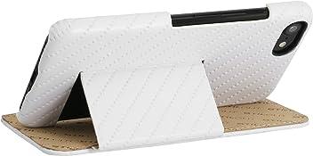 """StilGut Book Type Case con Clip e con Funzione Supporto, Custodia in Pelle Cover per iPhone 8 e iPhone 7 (4,7"""") Chiusura a Libro Flip-Case in Vera Pelle, Bianco Prestige"""