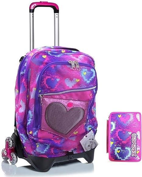 Seven Brightheart - Mochila escolar con ruedas + estuche de 3 pisos completo + 10 bolígrafos con purpurina y llavero brillante: Amazon.es: Deportes y aire libre