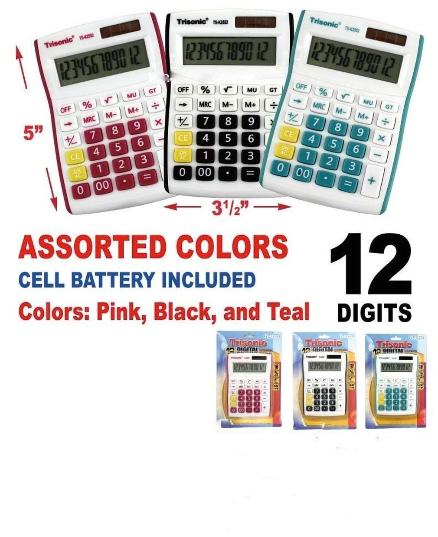 Fashion 12 digit handheld calculator school business desktop LCD solar powered new