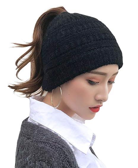 636ba940 E.Joy Online Women Cold Weather Hat Knit Beanie Outdoor Runner Messy Bun  Ponytail Cap