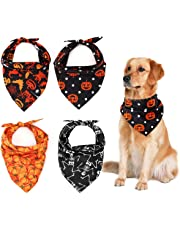 Pawaboo Pet Bandana 4 Pack for Halloween, Durable Premium Polyester Fabric Multiple Style Kerchief Dog Puppy Bandana Scarfs, Breathable Multi Colors Owner Headband Halloween Accessories, Colorful