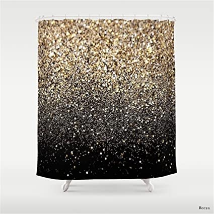 Weeya Black Gold Sparkle Shower Curtain 60 X 72 Inch