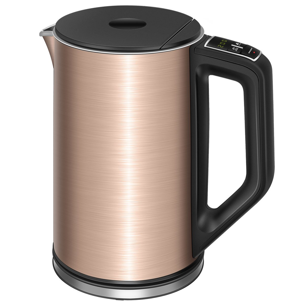 Electric Kettle Temperature Control, TOBOX Water Boiler Cool Touch 1.5L/1500W Double Wall Stainless Steel Electric Water Kettle from 90 ℉-212℉ and Keep-Warm Function(Rose Gold) by TOBOX