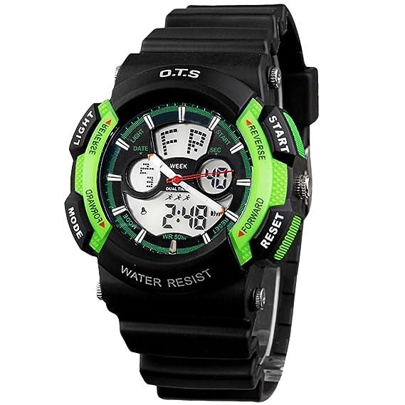 Panegy - Reloj Digital Deportivo para Niños Estudiantes Impermeable Analógico - Negro verde: Amazon.es: Relojes